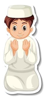Een stickersjabloon met biddende moslimjongen
