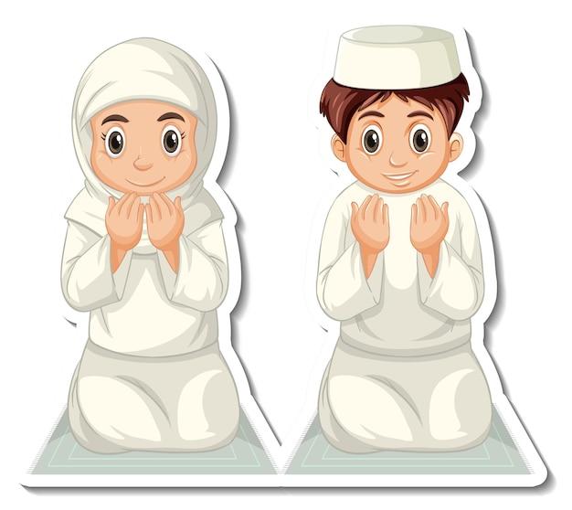 Een stickersjabloon met biddende moslimjongens en -meisjes