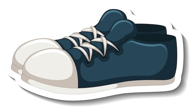 Een stickersjabloon met blauwe sneakers geïsoleerd