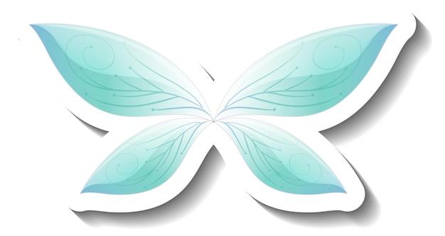 Een stickersjabloon met blauwe vlinder in sprookjesstijl
