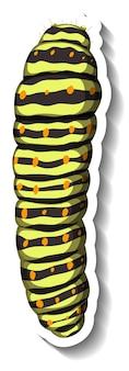 Een stickersjabloon met caterpillar geïsoleerd