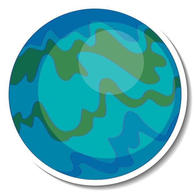 Een stickersjabloon met de aarde in cartoonstijl geïsoleerd