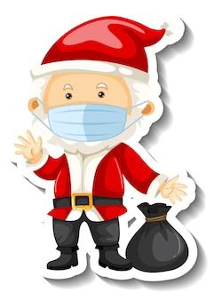 Een stickersjabloon met de kerstman die een masker draagt
