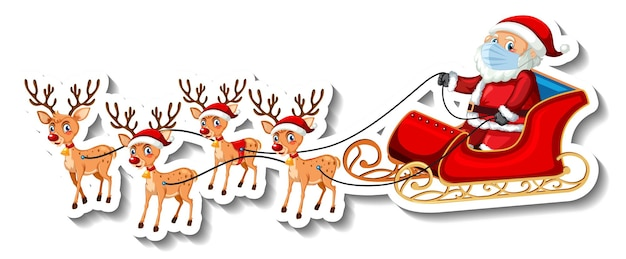 Een stickersjabloon met de kerstman op slee en rendieren
