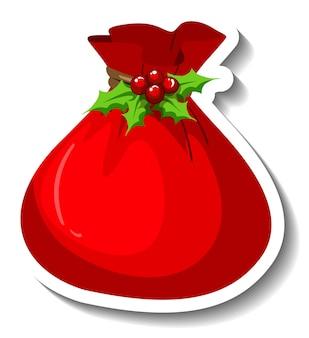 Een stickersjabloon met de zak van de kerstman geïsoleerd
