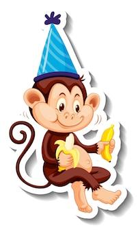Een stickersjabloon met een aap die een feestmuts draagt