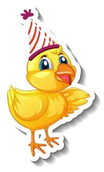 Een stickersjabloon met een babykip met een stripfiguur van een feestmuts