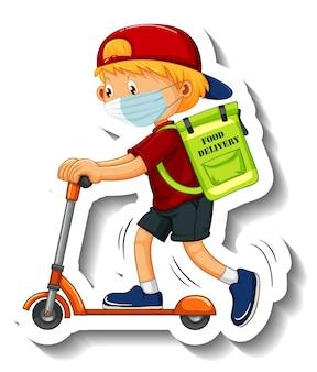 Een stickersjabloon met een bezorger met een masker en een scooter