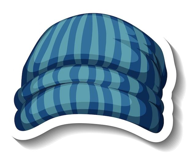Een stickersjabloon met een blauwe muts geïsoleerd