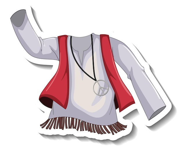 Een stickersjabloon met een bohemien shirt geïsoleerd