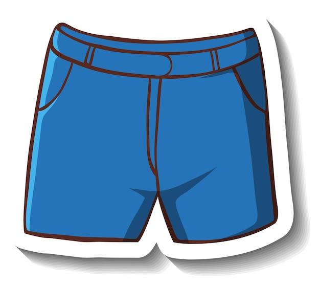 Een stickersjabloon met een casual korte broek geïsoleerd