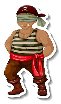 Een stickersjabloon met een geblinddoekte piratenman geïsoleerd