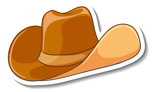 Een stickersjabloon met een geïsoleerde cowboyhoed