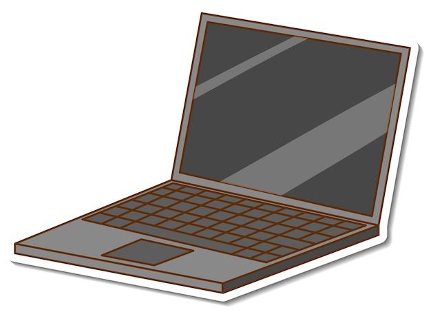 Een stickersjabloon met een geïsoleerde laptop