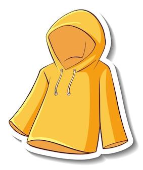 Een stickersjabloon met een gele hoodie geïsoleerd