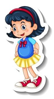 Een stickersjabloon met een gelukkig meisje in staande pose