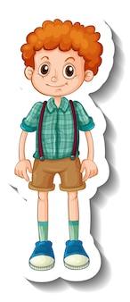 Een stickersjabloon met een gelukkige jongen in staande pose