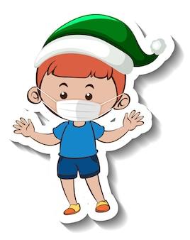 Een stickersjabloon met een jongen die een masker draagt in kerstthema