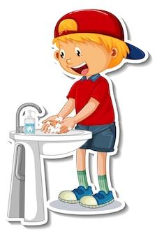Een stickersjabloon met een jongen die handen wast met zeep