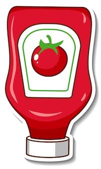 Een stickersjabloon met een ketchupfles