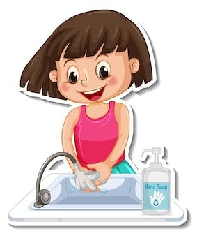 Een stickersjabloon met een meisje dat handen wast met zeep