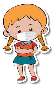 Een stickersjabloon met een meisje met een stripfiguur met een medisch masker
