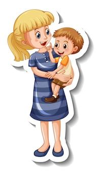 Een stickersjabloon met een moeder die haar zoon vasthoudt