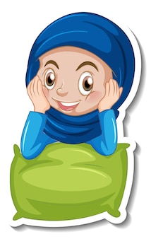 Een stickersjabloon met een moslimmeisje dat een kussen knuffelt