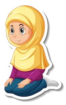 Een stickersjabloon met een moslimmeisje dat een stripfiguur bidt