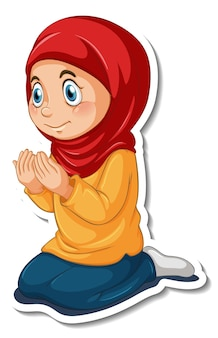 Een stickersjabloon met een moslimmeisje dat een stripfiguur bidt Gratis Vector