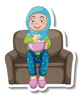 Een stickersjabloon met een moslimmeisje dat op de bank zit