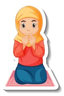 Een stickersjabloon met een moslimmeisje dat op een tapijt zit te bidden