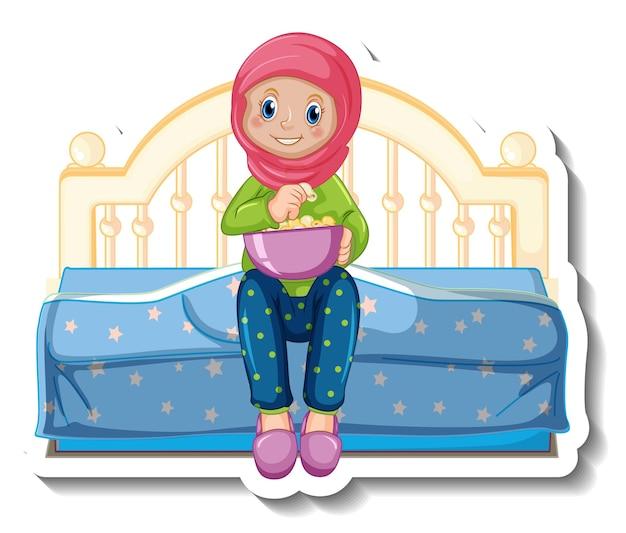 Een stickersjabloon met een moslimmeisje dat op het bed zit