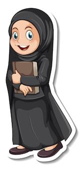 Een stickersjabloon met een moslimmeisje met een zwarte hijab en kostuum wearing
