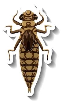 Een stickersjabloon met een muginsect geïsoleerd