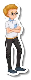 Een stickersjabloon met een nerdy man in staande pose