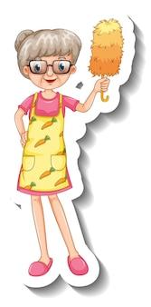 Een stickersjabloon met een oude vrouw die dienstmeisjeskostuum draagt in staande pose