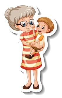 Een stickersjabloon met een oude vrouw die haar kleinzoon in staande houding vasthoudt