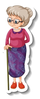 Een stickersjabloon met een oude vrouw in staande pose