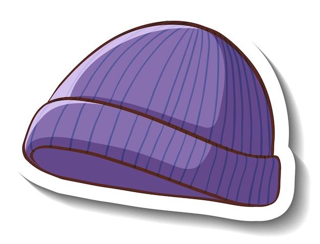 Een stickersjabloon met een paarse muts geïsoleerd