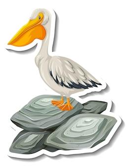 Een stickersjabloon met een pelikaan die op de rots staat geïsoleerd
