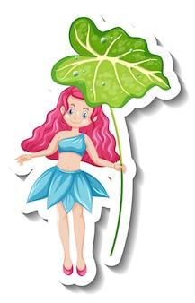 Een stickersjabloon met een prachtig sprookjesfiguur