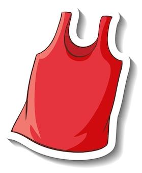 Een stickersjabloon met een rode tanktop geïsoleerd