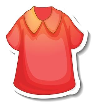 Een stickersjabloon met een rood shirt voor vrouwen geïsoleerd