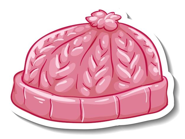 Een stickersjabloon met een roze muts geïsoleerd