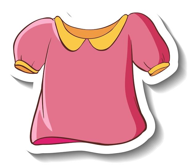 Een stickersjabloon met een roze shirt voor vrouwen geïsoleerd