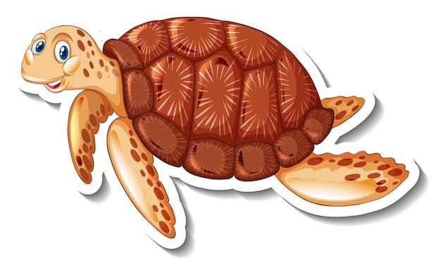 Een stickersjabloon met een schattig stripfiguur van een schildpad