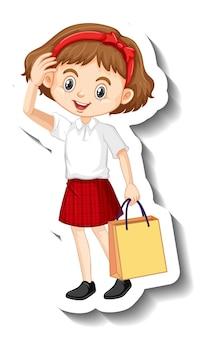Een stickersjabloon met een schattig studentenmeisje in schooluniform