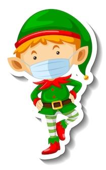Een stickersjabloon met een schattige elf die een masker draagt