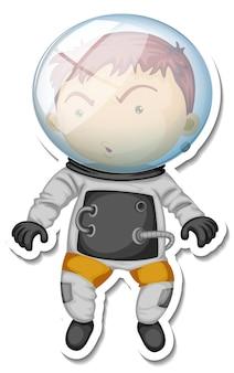 Een stickersjabloon met een stripfiguur van een astronaut geïsoleerd